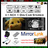 4.1'' Single 1 Din Car MP5 MP3 Player BT FM Radio TF Wheel Control Stereo