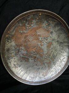 Japanese inlaid mixed metal Charger Eagle decoration
