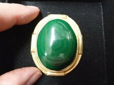(BR-403) green Malachite gemstone on gold rope + smooth oval brass pin pendant