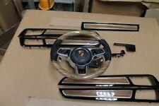 Porsche Cayenne 9Y0 HOLZ Leder Lenkrad LEISTEN Schwarz KOMPLETT 9Y0419091 CH