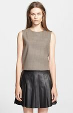 THEORY FOCHA Wool Blend Plaid Sleeveless Crop Top Shell Vest Womens Large NEW