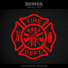 Firefighter -Window Car Decal- Red  - 5""
