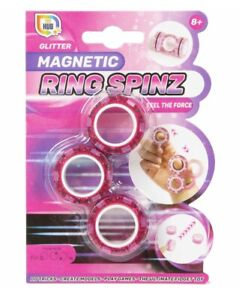 NEW PINK GLITTER MAGNETIC RING SPINZ FIDGET SPINNER FEEL THE FORCE TOY HUB