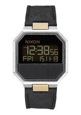 New Nixon Re-run Leather Watch Black Brass