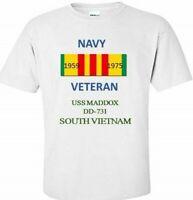 USS MADDOX  DD-731 *SOUTH VIETNAM*VIETNAM VETERAN RIBBON 1959-1975 SHIRT