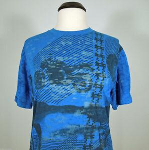 DO DENIM Blue Sheer Bike Motorcycle Graphic Print T-Shirt size L