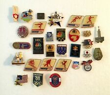 Lot of 30 Different Olympic Pins ABC NBC Calgary LA Athens