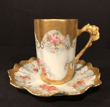 Antique Limoges chocolate cup saucer hand painted WG & CO Limoges signed Bjm '46