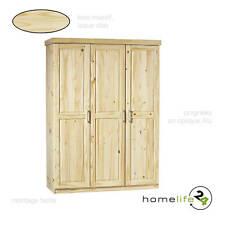 Armoire dressing penderie rangement étagère 3 portes bois massif naturel