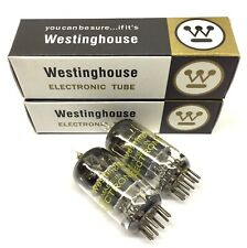 Matched Pair  12AY7 NOS  Square Getter Grey Plate Westinghouse USA  Valve Tubes