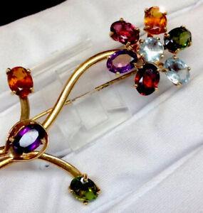 Antique 7.25ct Genuine Multi Color Gemstones Flower Pendant Brooch Solid 750/18K