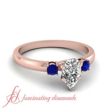 Pear Diamond And Sapphire Gemstone Past Present Future Engagement Ring 0.80 Ct
