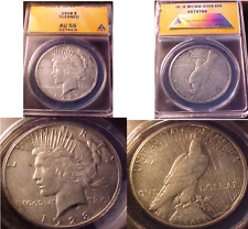 KEY DATE 1928 PEACE SILVER DOLLAR..ANACS CERTIFIED AU-55 (CLEANED)