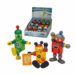 12cm Key Craft Wood Flexi Robot Fidget Toy Bright Cheery Kids Childs Wooden Cute