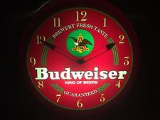 Vintage Budweiser Bar Advertising Light Up Clock 1996