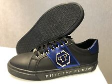 Philipp Plein Black & Red Stripped Sneakers Shoes UK 10/EU 44/US 11