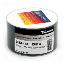 50 TRAXDATA FULL FACE Stampabile Bianco CD-R 52x DISCHI 700mb Ritek Vuoti CDR dischi