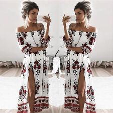 XL White Woman Beach Dress Shoulder Off High Slit Floral Print Maxi Long Dresses