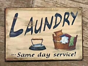 METAL & ENAMEL Vintage Style Sign LAUNDRY ... SAME DAY SERVICE! Iron Wash