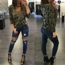 Camouflage Long Sleeve Blouse Women Lady Casual Loose Camo T Shirt Pullover Tops