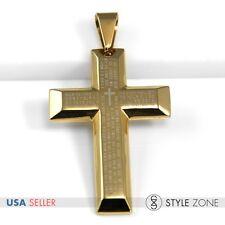 Men's Stainless Steel Bible Scriptures Engrave Gold Tone Cross Pendant Charm 11L