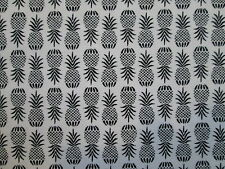 PINEAPPLES PINEAPPLE REALISTIC TROPICAL WHITE BLACK COTTON FABRIC FQ