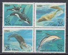 Sowjetunion 6130 - 6133 postfrisch viererblock Meeressäugetiere