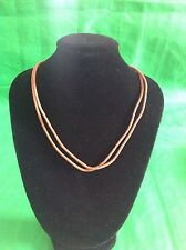 Silpada N1129 Brown Leather Two Stand .925 Sterling Silver Necklace Retired