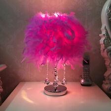 Crystal Pendants Feather Shade Lamp Night Light Table Bedside Desk Decor