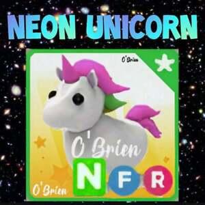 🦄 (NFR) NEON UNICORN 🦄  Fly Ride . Adopt me - Roblox. Legendary pet uni
