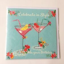Birthday Drinks Card Martini Holiday Pink Blue for Royal Trinity Hospice Charity