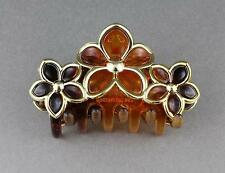 """Brown Gold hair clip flower floral plastic barrette jaw claw clamp 3.5"""" long"""