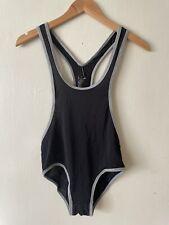Wrestling Singlet Briefs Underwear Jumpsuit Fitness Bodysuit Black & Grey Size L