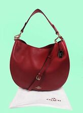 COACH 36026 Nomad Cherry Red Glovetanned Leather Hobo Bag Msrp $495.00