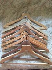 8 Vintage Wooden Coat Clothes Hangers With Rail