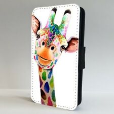 Giraffe Colourful Animal Face FLIP PHONE CASE COVER for IPHONE SAMSUNG
