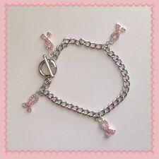 "Pink Ribbon Rhinestone Charms 8"" Toggle Bracelet ~ Breast Cancer Awareness"