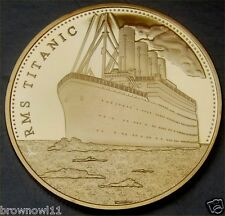 RMS TITANIC Gold Plated Coin Atlantic Ocean on Map to USA TO UK LIVERPOOL (41)