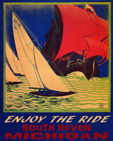 POSTER SAILBOAT ENJOY THE RIDE SOUTH HAVEN MICHIGAN SAIL VINTAGE REPRO FREE S/H