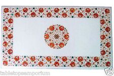 4'x2' Marble Dining Top Table Mosaic Arts Carnelian Marquetry Inlay Garden Decor
