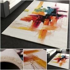 Canvas Look Rug Contemporary Designer Colourful Mat Modern Luxury Thick Carpet