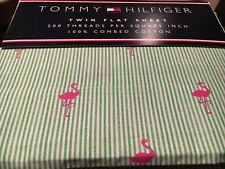 TOMMY HILFIGER Flat Striped Flamingo Twin Bed Sheet NEW Green Pink