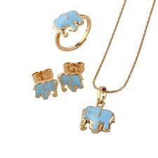 18 K GP Blu Elefante Gioielli Set piccole Ragazze Collana & Orecchini ad anello s364