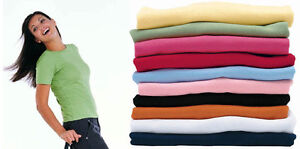 Ladies T-Shirt Size 8 10 12 14 16 18 20 10 Colours Tee Top Plain Short Sleeve
