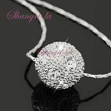 18k WHITE GOLD PLATED Necklace w/ Swarovski Crystal Silver Luck Ball L168