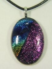 "BUTW Gorgeous Dichroic Glass 47mm 2Tone Oval Pendant 16-18"" Leather Cord 8711D"