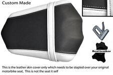 BLACK & WHITE CUSTOM FITS YAMAHA FAZER FZ1 06-12 REAR PILLION LEATHER SEAT COVER