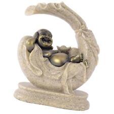 Bouddha Maitreya Figurine Statuette de Grès Fait à la Main Décor Oriental
