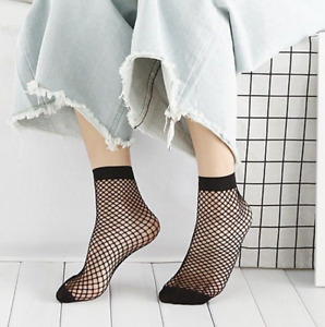 Black Fishnet Ankle Socks, Fashion Sexy, Short Stocking Hosiery Mesh, Women