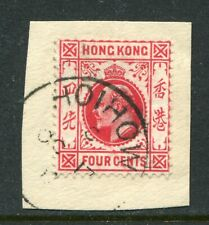 Old China Hong Kong KEVII 4c stamp on Piece with Hoihow Treaty Port  CDS Pmk